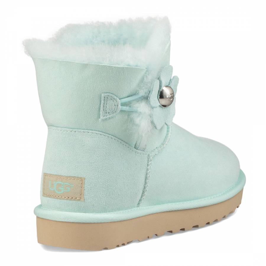 b3d7b9303fa Aqua Suede Mini Bailey Button Poppy Boots - BrandAlley