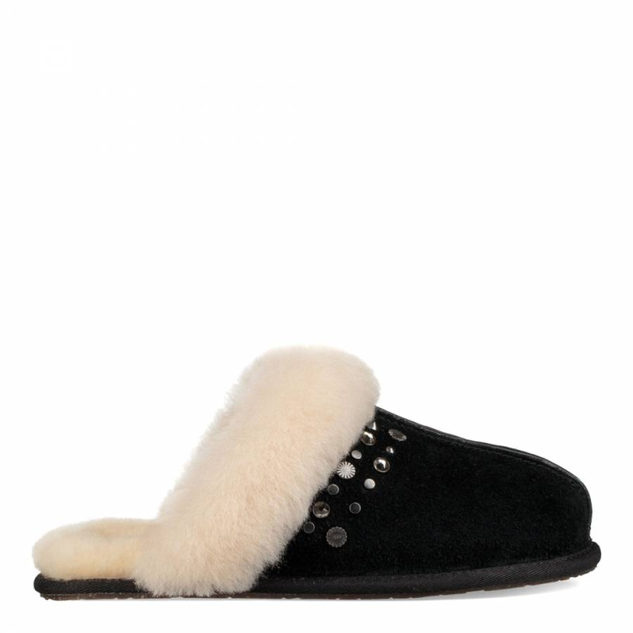 58c963476765e0 Black Suede Scuffette II Studded Bling Slippers - BrandAlley
