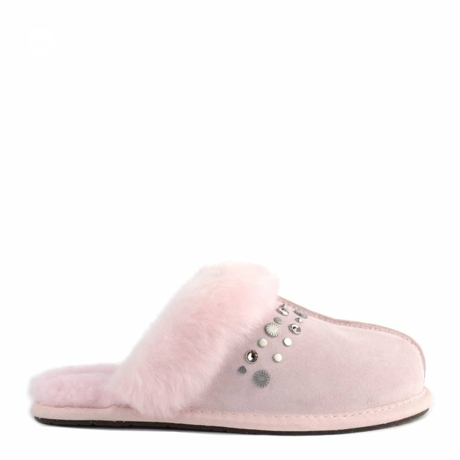 6a7ac70ee18 Seashell Pink Suede Scuffette II Studded Bling Slippers - BrandAlley