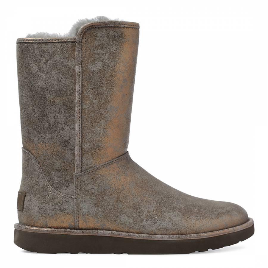 a6756c9ccb Gunmetal Metallic Suede Abree Short II Stardust Boots - BrandAlley