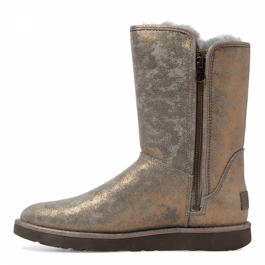 ac973db6dfd Gunmetal Metallic Suede Abree Short II Stardust Boots - BrandAlley
