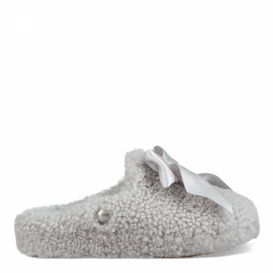 af9a83aa6d2 Grey Violet Curly Sheepskin Addison Slippers - BrandAlley