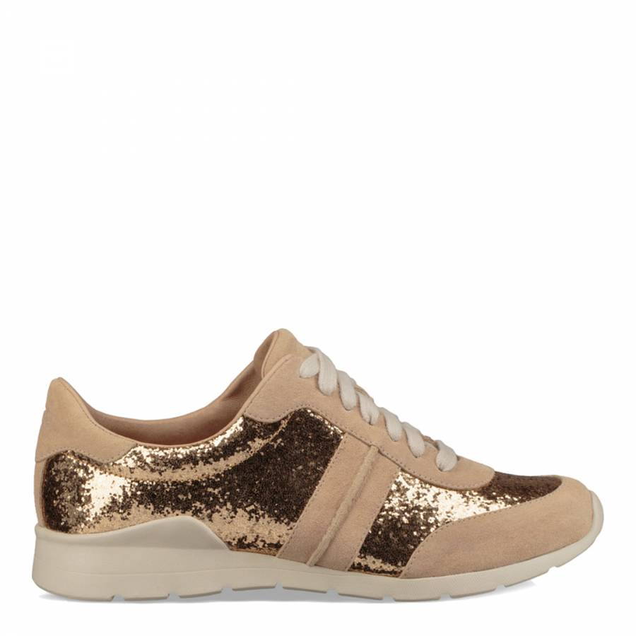 e3449bb4182 Gold Suede Jaida Glitter Sneakers - BrandAlley