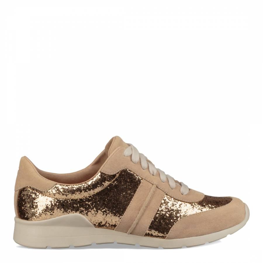 c80f3ceb547 Gold Suede Jaida Glitter Sneakers - BrandAlley