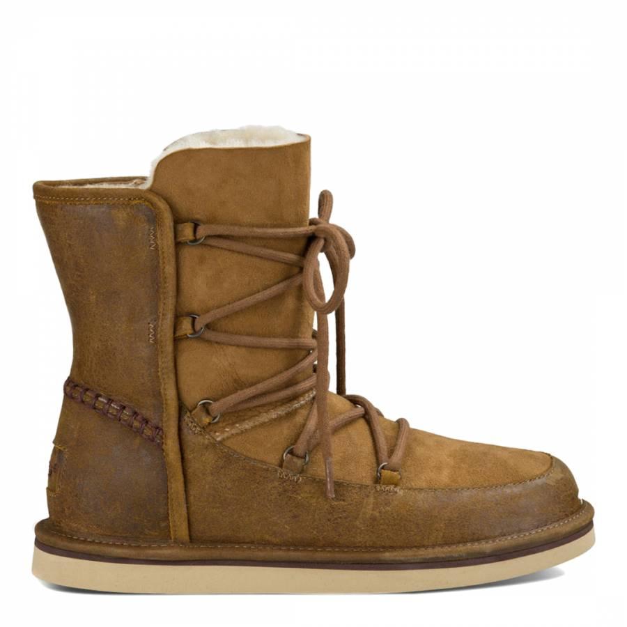 8a8f57443b9 Chestnut Sheepskin Leather Lodge Boots
