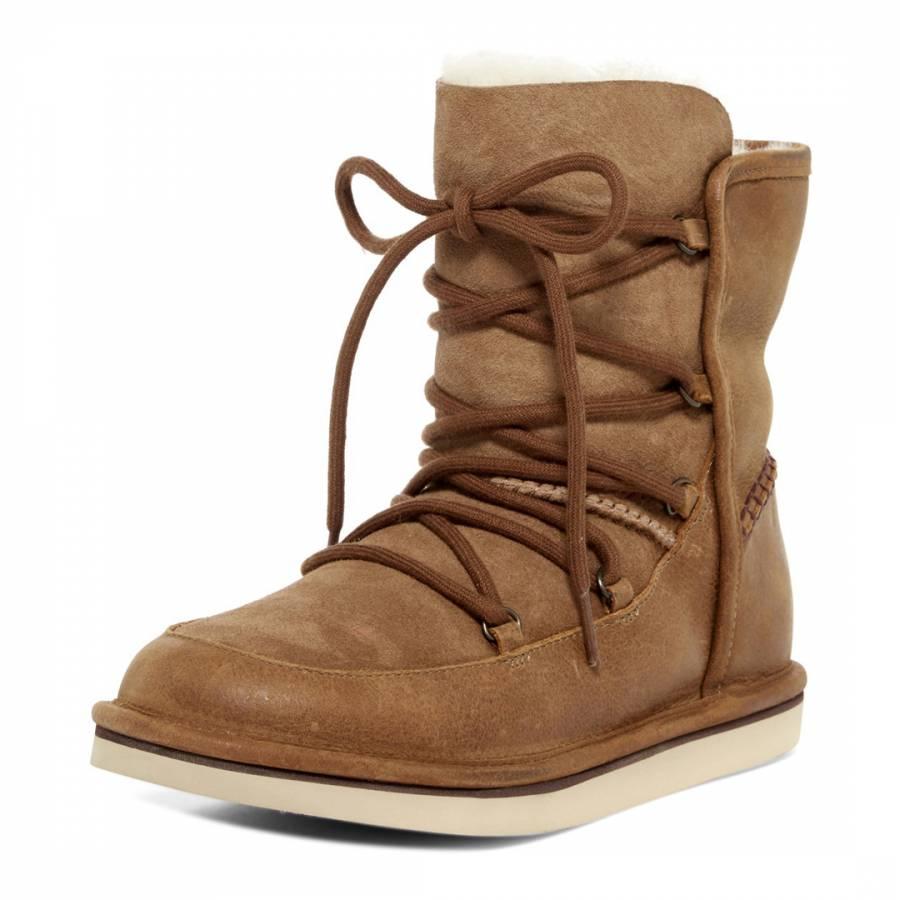 e332dd6355e Chestnut Sheepskin Leather Lodge Boots
