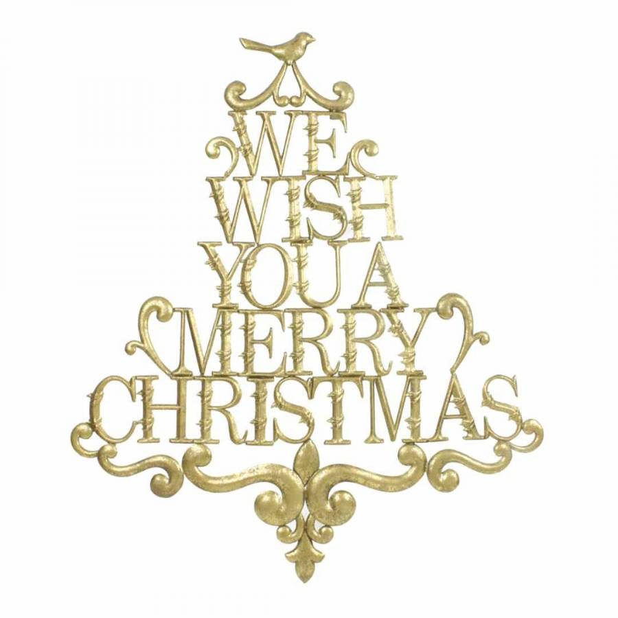 Gold We Wish You A Merry Christmas Sign - BrandAlley