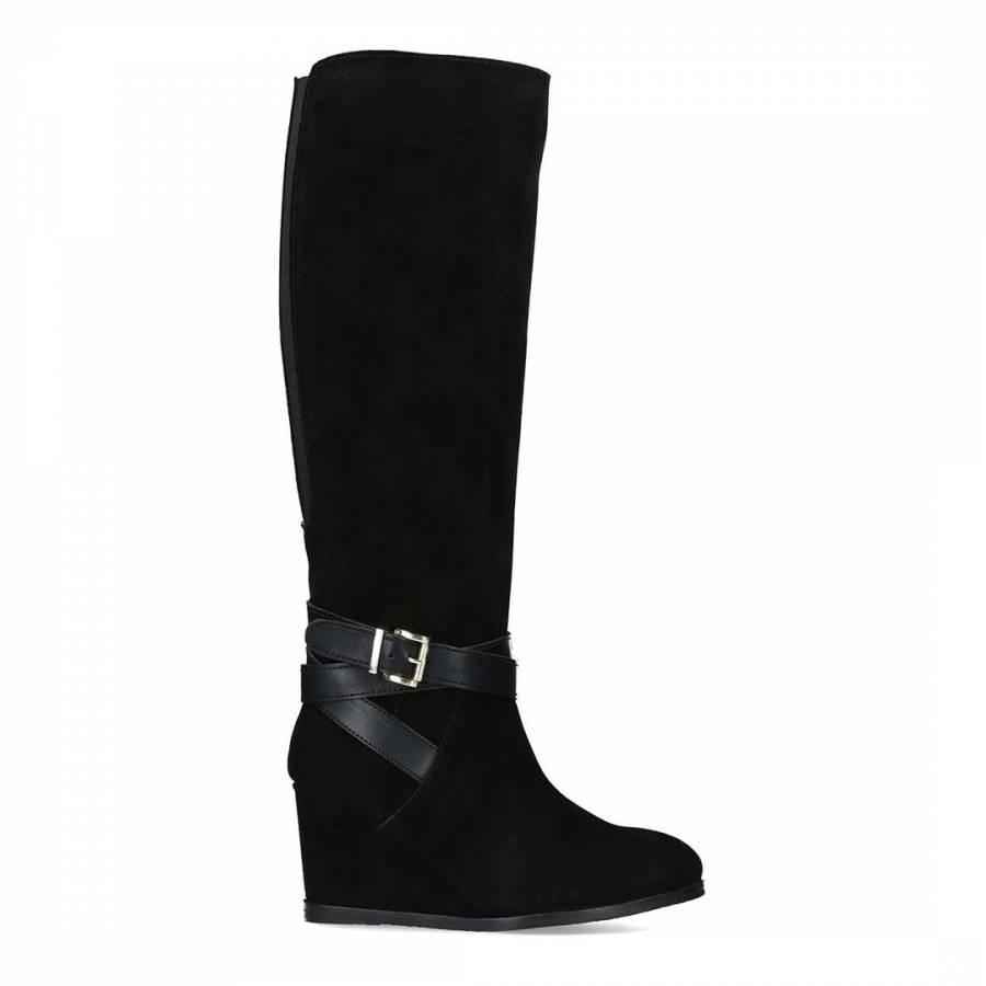 9308c1313d34 Black Suede Pledge Wedge Heel High Leg Boots - BrandAlley