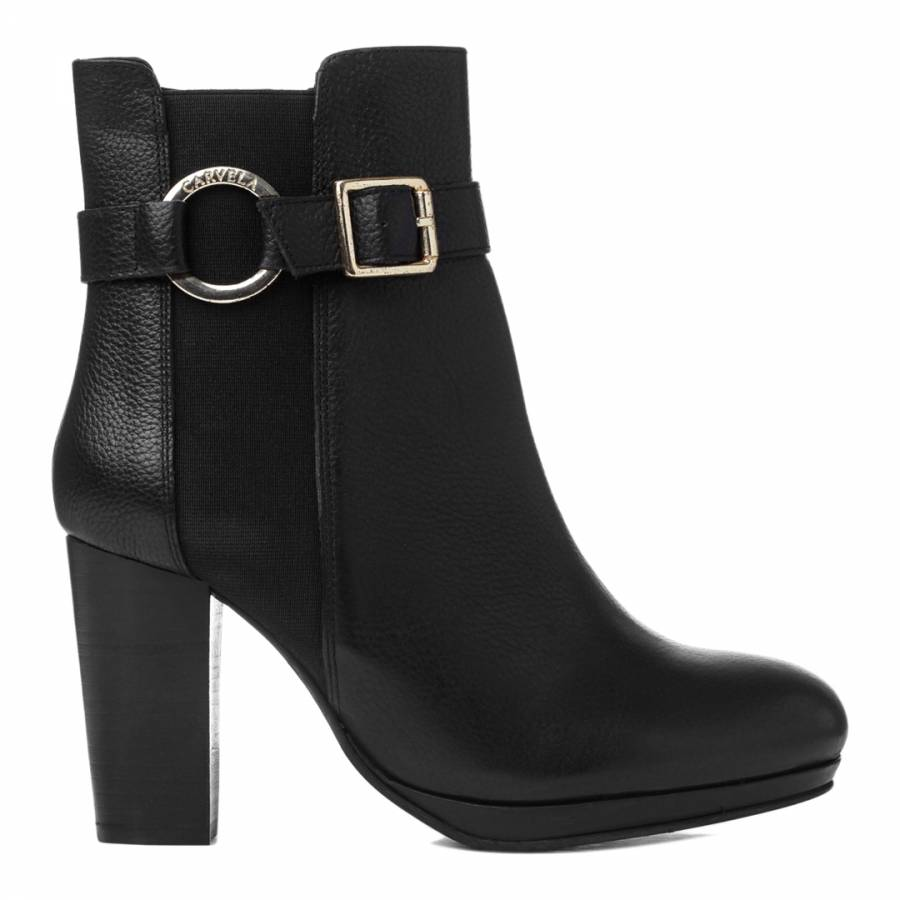 a9f014426 Black Leather Totally Block Heel Ankle Boots - BrandAlley