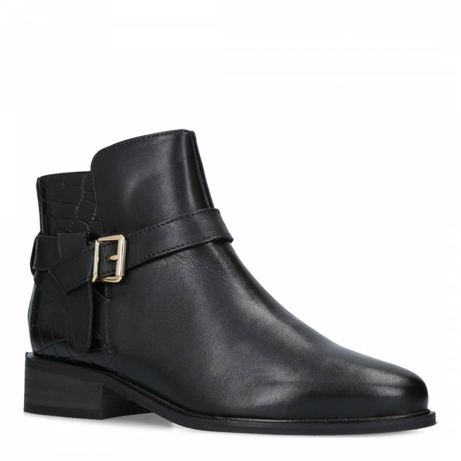 6eb182f83dab Black Leather Twist Ankle Boots - BrandAlley