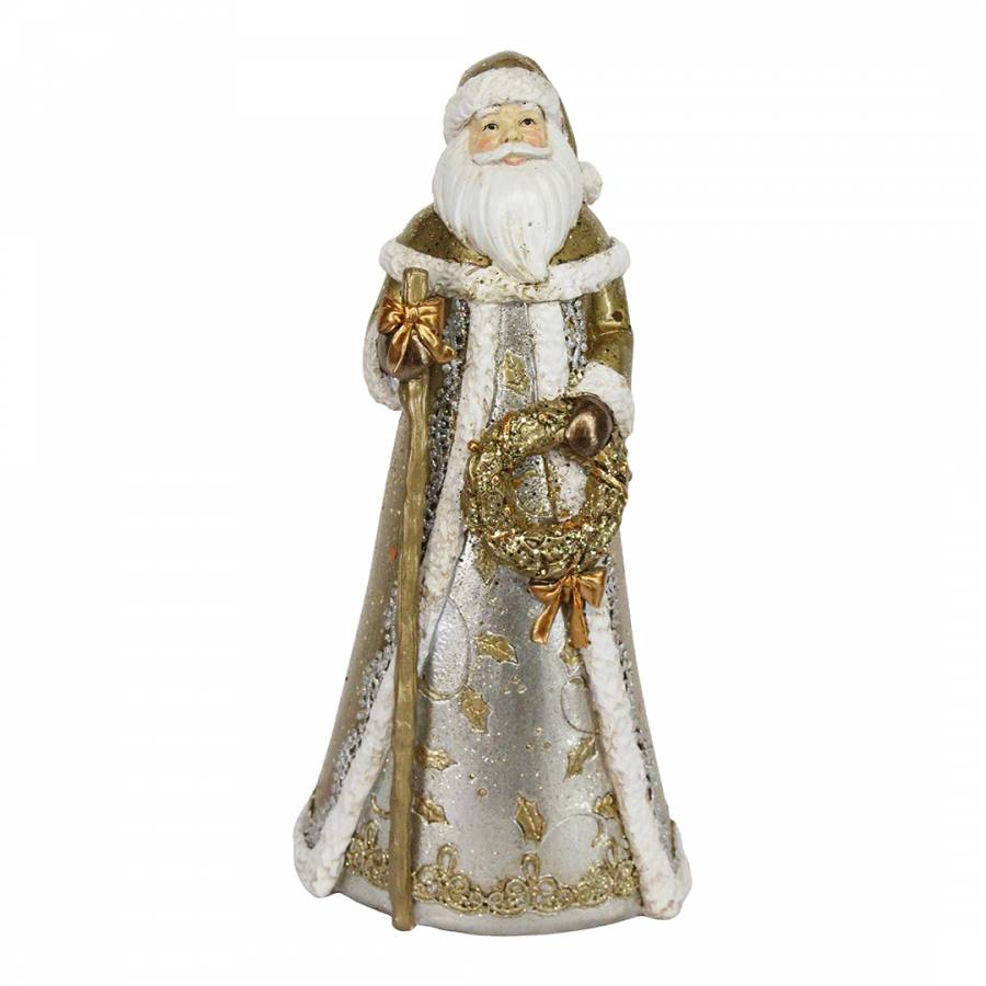 Image of Gold/Silver Santa Ornament