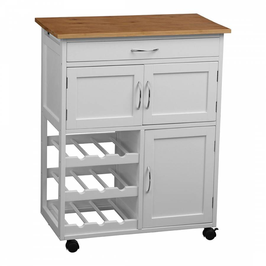 White Kitchen Trolley with Bamboo Top - BrandAlley