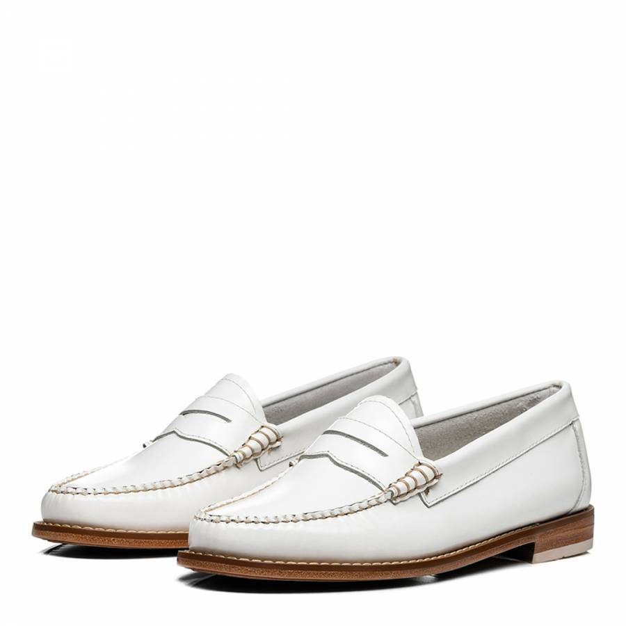 Women's White Leather Weejun Penny Loafer - BrandAlley