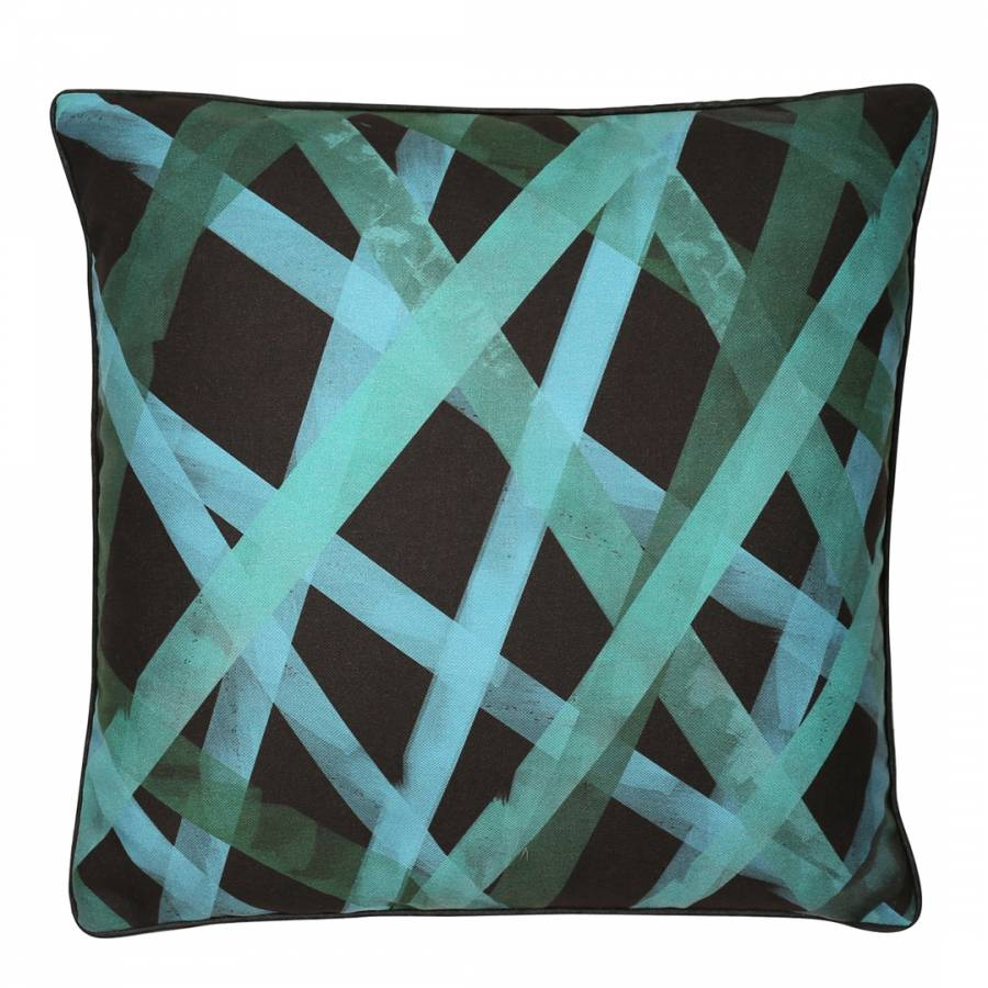 Green/Black Ribbon Cushion 45x45cm - BrandAlley