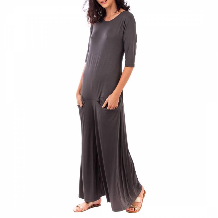 ced855ea74 Fille de Coton Charcoal Cotton 3 4 Sleeve Jumpsuit
