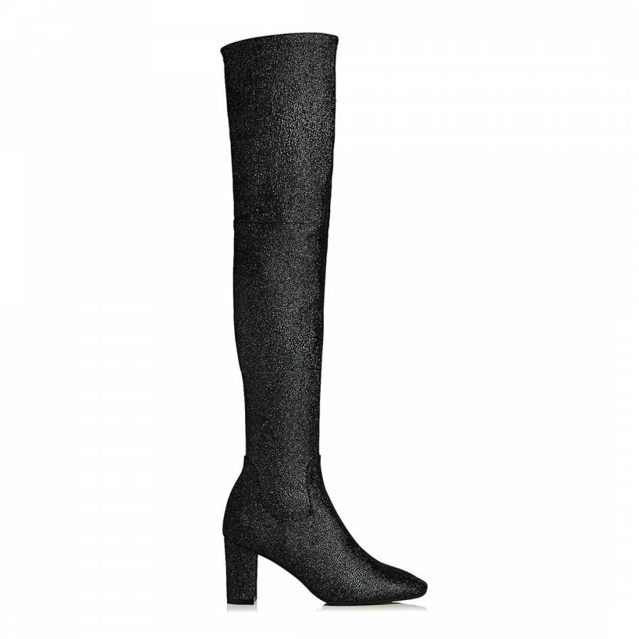 46662a55a85 L K Bennett Black Sugar Crystal Suede James Over-The-Knee Boots. prev.  next. Zoom