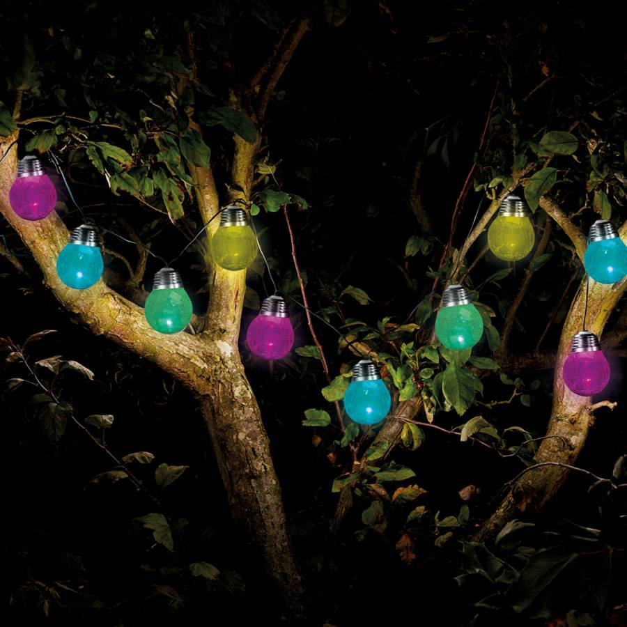 smart solar multi crackle globe string of 10 lights