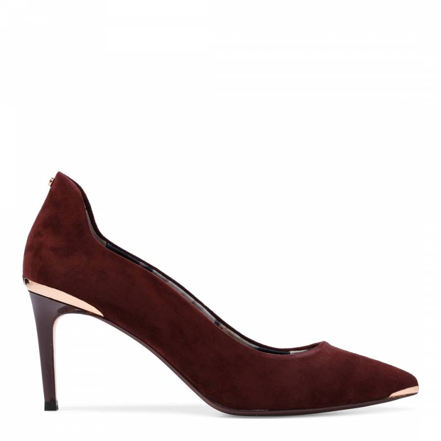 48a4c8a9ffe Continue Shopping Checkout · Ted Baker Burgundy Suede Vyixin Curved Court  Shoes