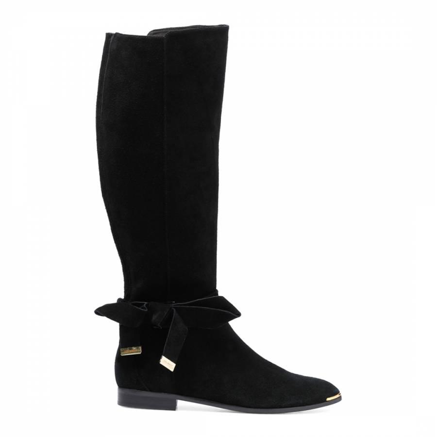 Black Suede Alrami Knee High Boots