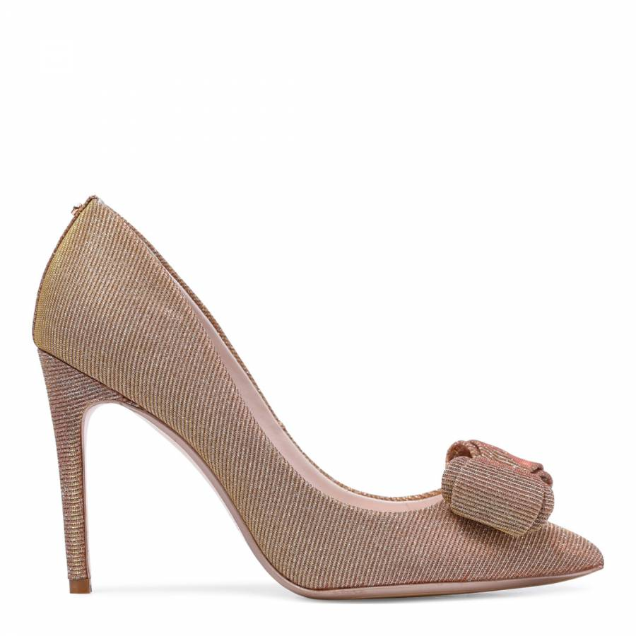 c89c65039 Rose Gold Textured Azeline Bow Court Shoes - BrandAlley