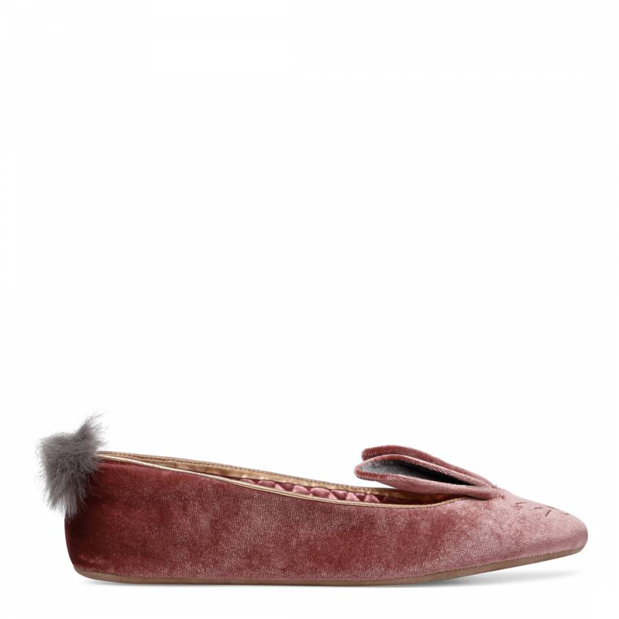387e87e980bd4f Pink Plush Velvet Bellamo Bunny Slippers - BrandAlley
