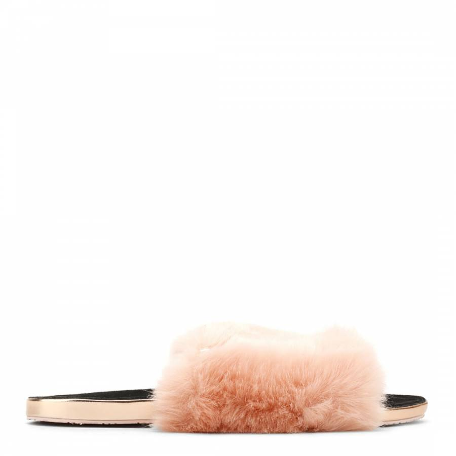 2c09506399ce Pink Faux Fur Pancey Fluffy Slider Slippers - BrandAlley