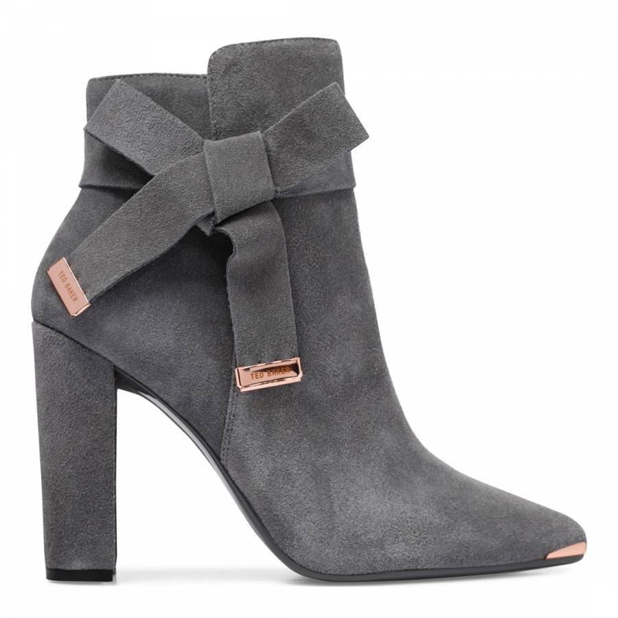 a67f8f5f8b4 Dark Grey Suede Sailly Bow Ankle Boots - BrandAlley