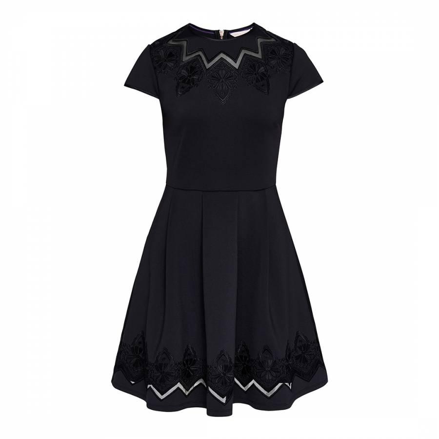 69f6ba1c1 Black Cheska Lace Panelled Mini Dress - BrandAlley