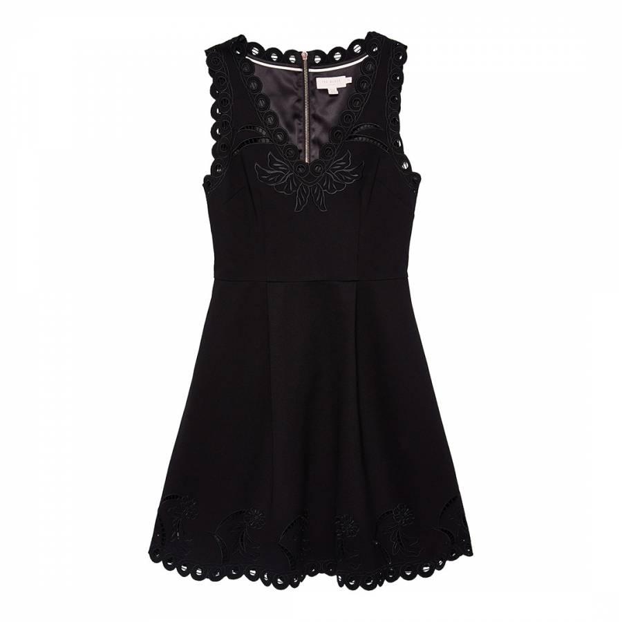 4f6c3397bfb04a Emalise V Neck Embroidered Skater Dress - BrandAlley