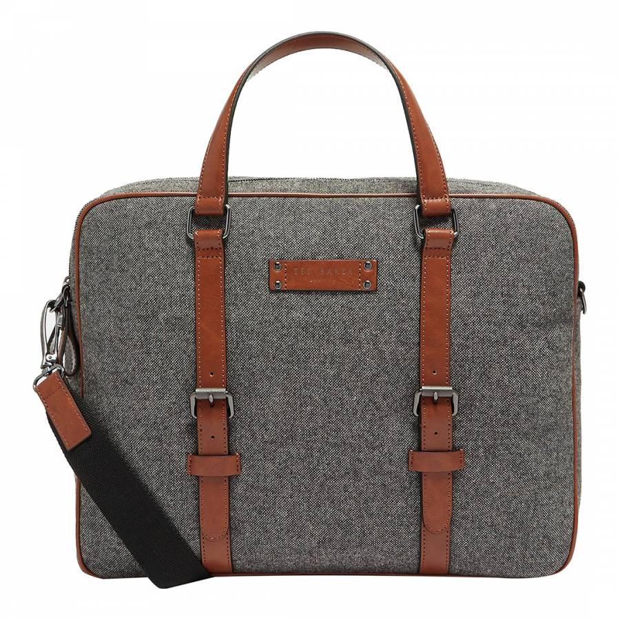 TED BAKER Men s Grey Spadee Wool Document Double Handle Adjustable Strap Bag 4356a28f9dac1