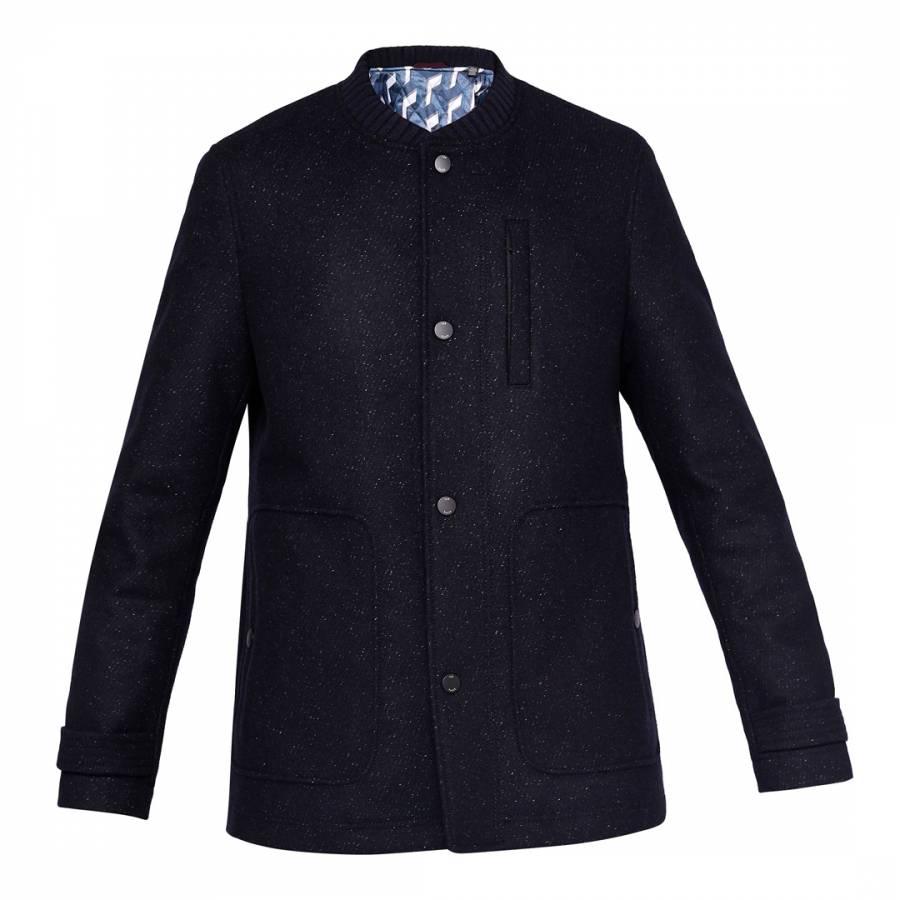 a275a5b1f3ba Dark Blue Marvin Wool Funnel Neck Overcoat - BrandAlley