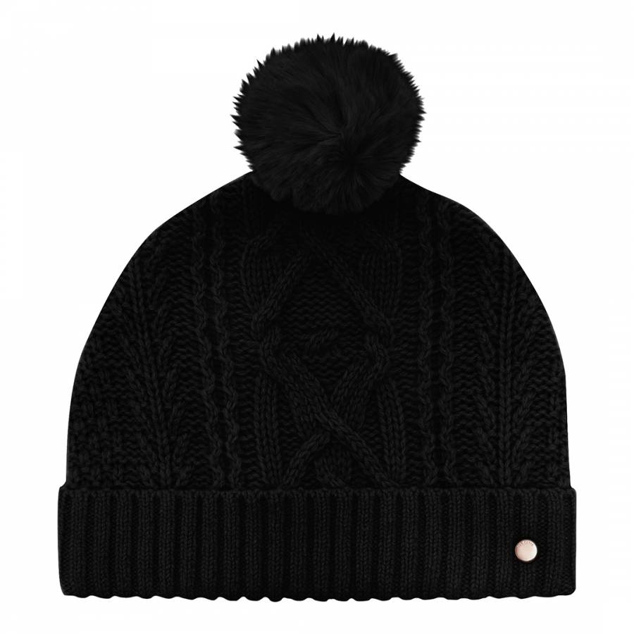 63a0d736496 Black Kyliee Cable Knit Bobble Hat - BrandAlley