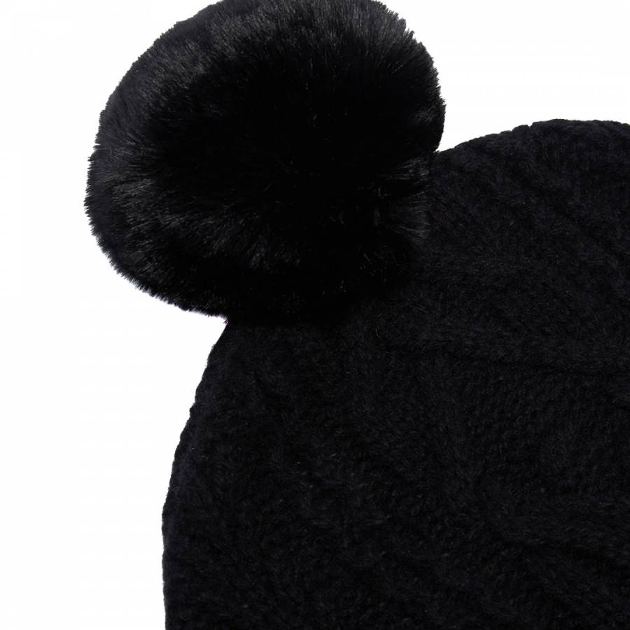 Black Kyliee Cable Knit Bobble Hat - BrandAlley f0b45716b5cd