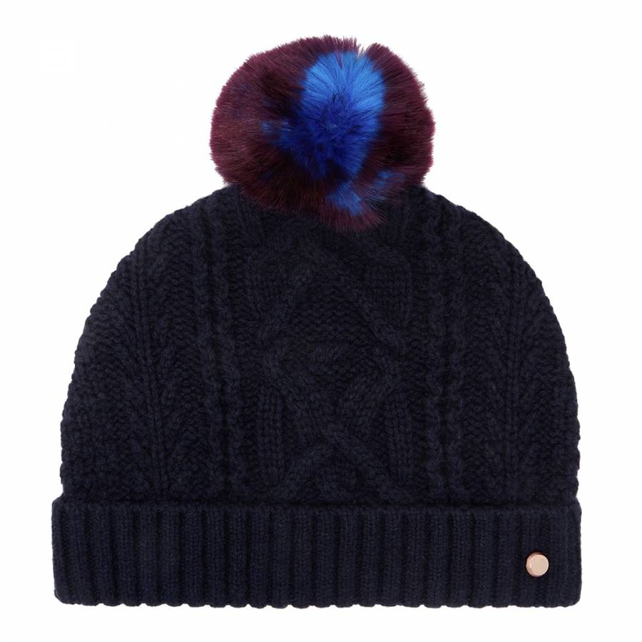 Navy Kyliee Cable Knit Bobble Hat - BrandAlley 0a6298c96642