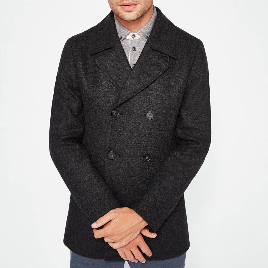 e96a16bdcf7 Charcoal Zachary Wool Peacoat - BrandAlley