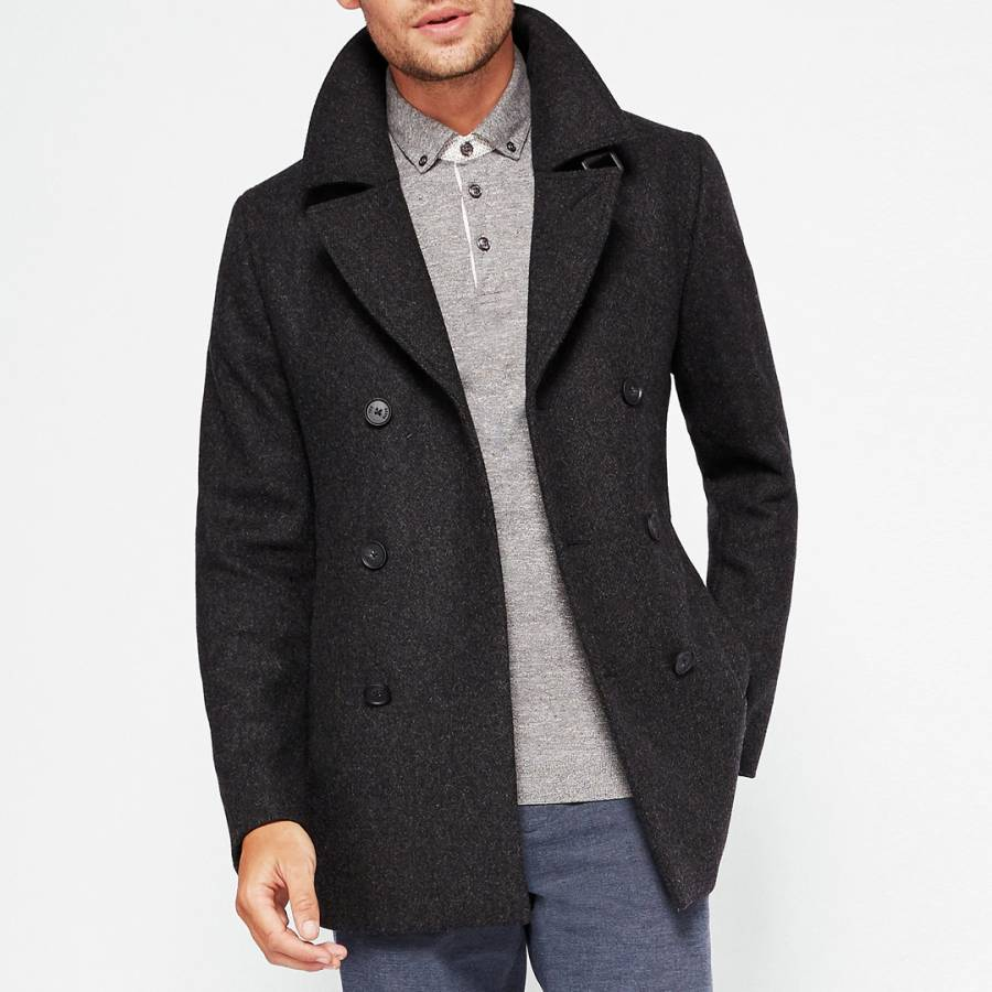 eb78af887729c Charcoal Zachary Wool Peacoat - BrandAlley