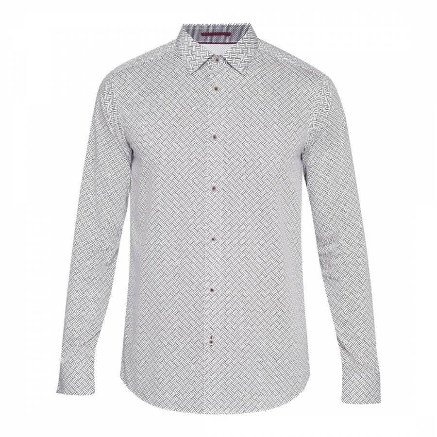 fba2bd4814ef9f Ted Baker. White Cotton Larosh Printed Rectangle Shirt