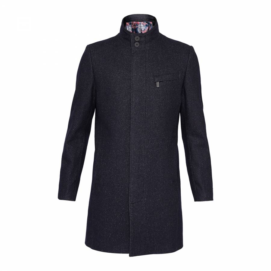 Dark Blue Marvin Wool Funnel Neck Overcoat - Ted Baker - Brands ... 243871659397