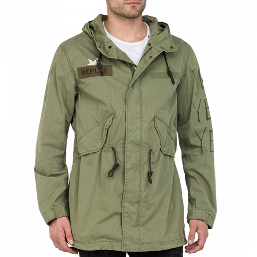 Green printed cotton parka jacket brandalley