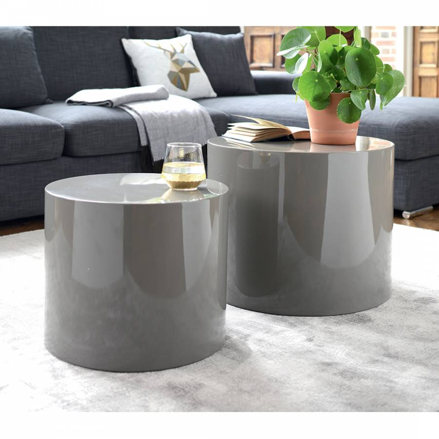 huge discount 44fc6 2aa4c Circular Gloss Stacking Side Tables, Stone