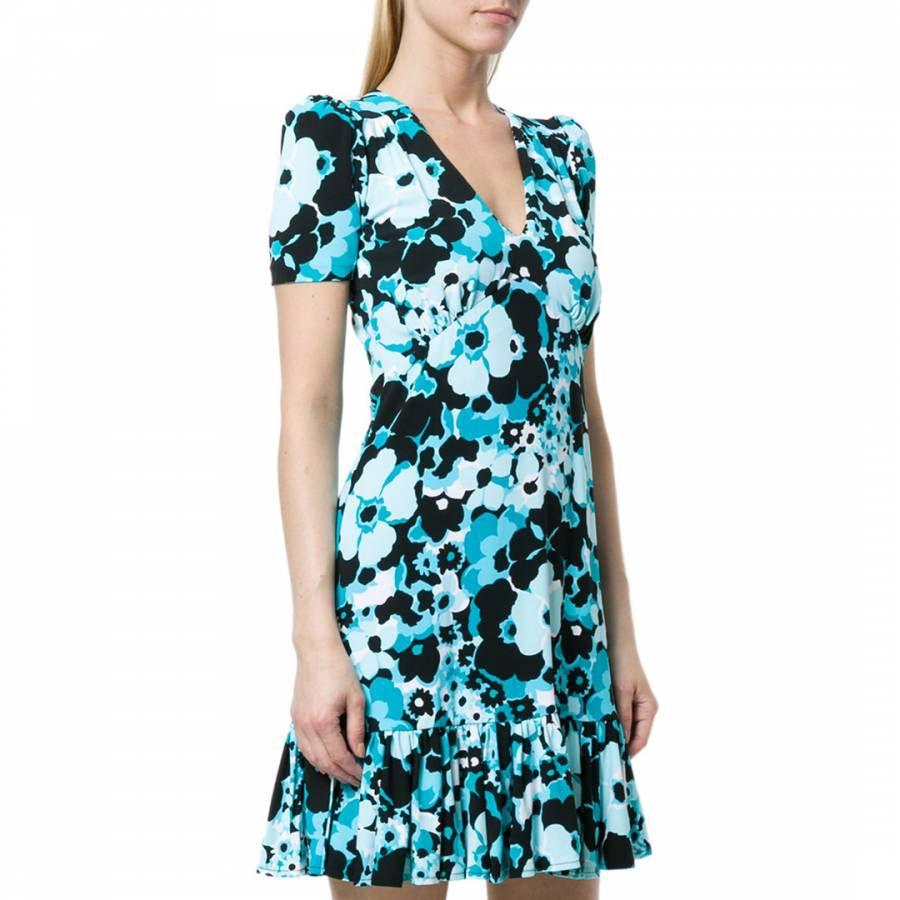 3df394261c84 Blue and Black Floral-Print Ruffled Mini Dress - BrandAlley