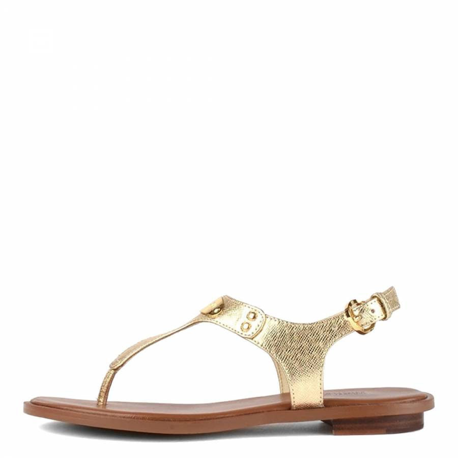 d99402916 Gold Leather MK Plate Thong Sandals - BrandAlley