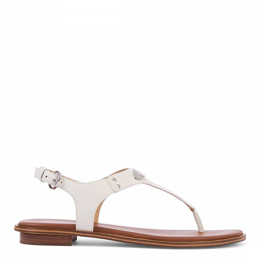 White Leather Plate Thong Sandal