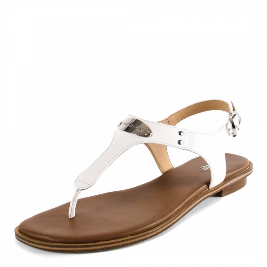 7da12dfe7 White Leather MK Plate Thong Sandals - BrandAlley
