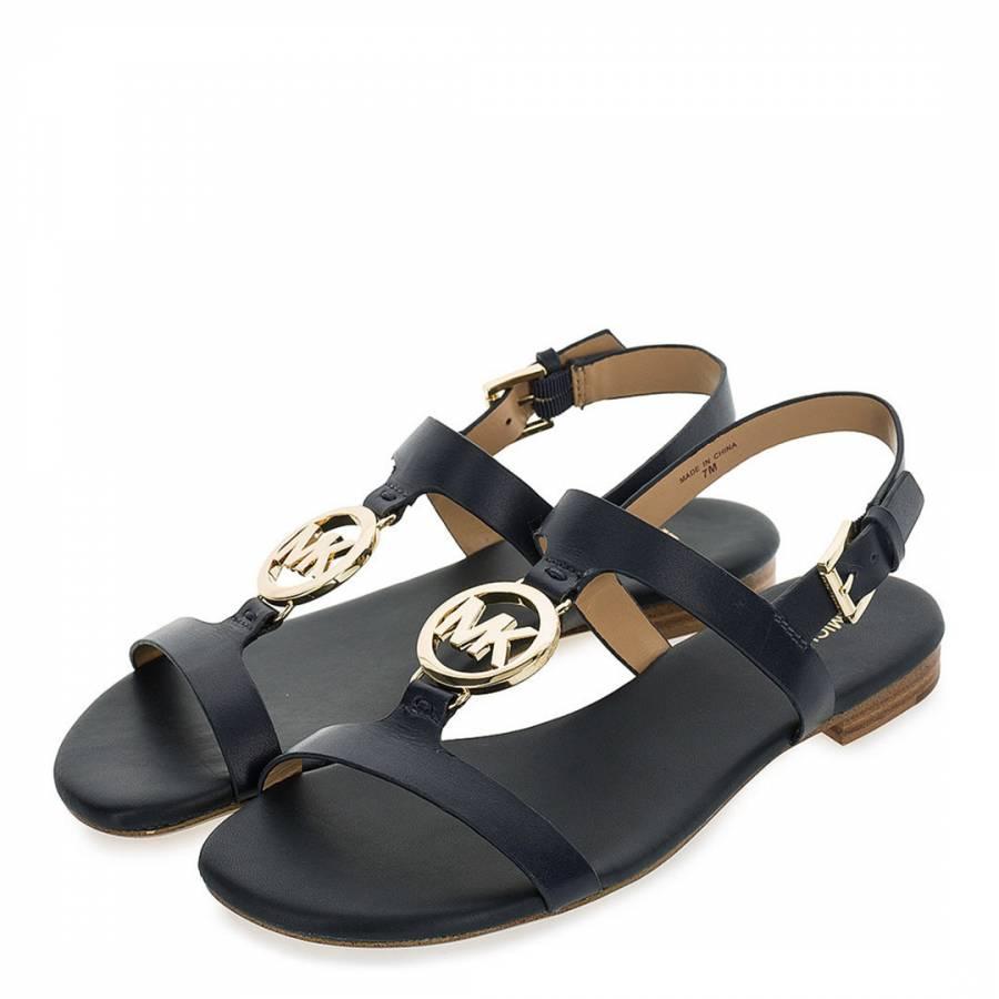 9fb1f4ae8 Black Leather Beth MK Plate Sandals - BrandAlley