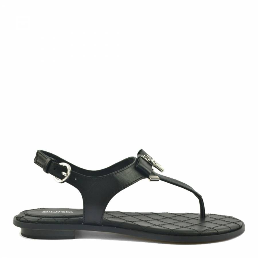 a18e5e9b6d28 Black Leather Alice Thong Sandals - BrandAlley