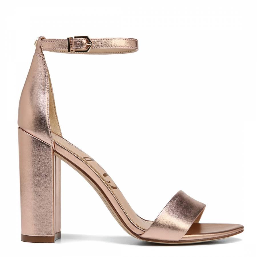 b371fdf97a83 Rose Gold Metallic Yaro Block Heeled Sandals - BrandAlley