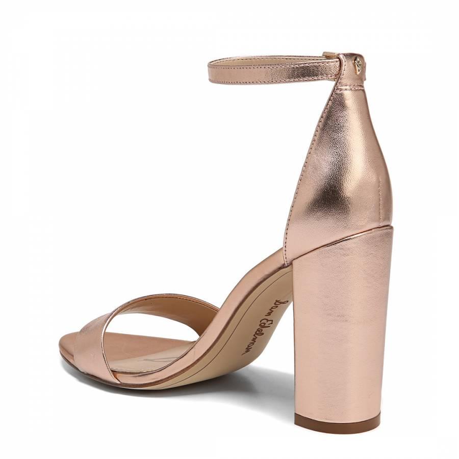 d5874273652 Rose Gold Metallic Yaro Block Heeled Sandals - BrandAlley