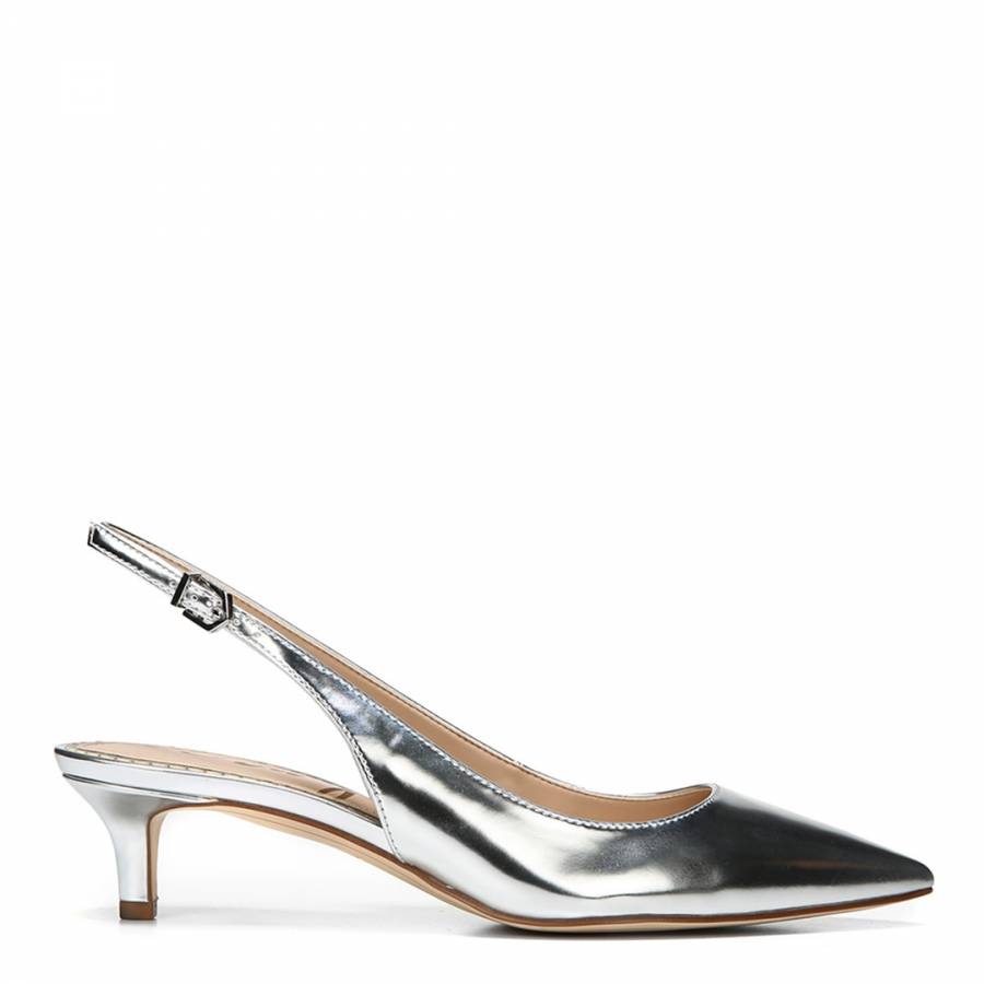 Silver Metallic Ludlow Slingback Kitten Heels - BrandAlley