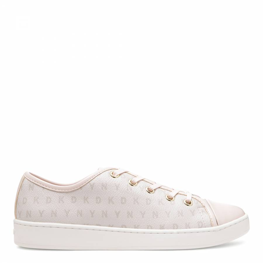 New Womens DKNY Pink Barbara Leather Trainers Sports Luxe Lace Up
